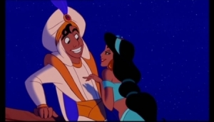 Jasmine seducing Aladdin
